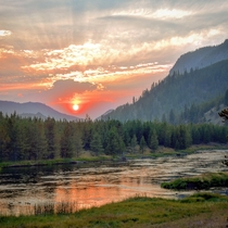 Sunset on the Madison River Yellowstone Natl Park WY