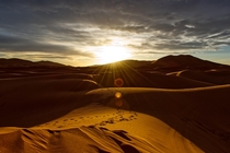 Sunset on the Moroccan Sahara