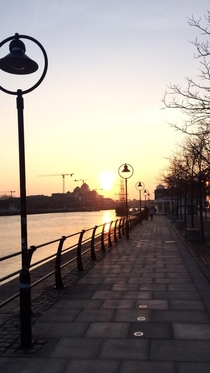 Sunset on the Quays in Dublin Ireland