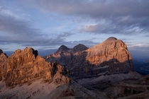 Sunset on the sharp faces of the Italian Dolomites