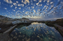 Sunset over a tidal pool at Sea Point Cape Town taken with a fisheye lens OC