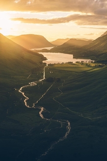 Sunset over Buttermere Lake District National Park UK