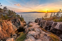 Sunset over coastal cliffs Acadia NP