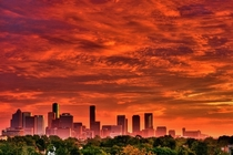 Sunset over Houston USA