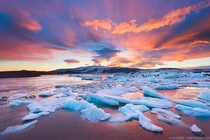 Sunset over Jokulsarlon Lake in Iceland  by Elia Locardi