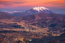 Sunset over La Paz Bolivia with Illimani behind