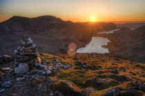 Sunset over lake Buttermere Lake District UK