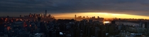 Sunset over Lower Manhattan and Jersey City