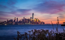 Sunset over lower Manhattan New York NY USA