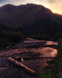 Sunset over Mineral Creek Colorado
