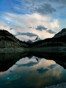 Sunset over Mount Assiniboine in the Canadian Rockies BC