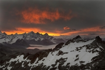 Sunset over Mount Hodges Antarctica