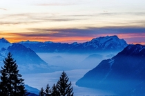 Sunset over Mount Pilatus Switzerland