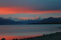 Sunset over Mt CookLake Pukaki South Island NZ