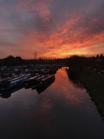 Sunset over Nottingham canal boats