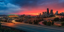 Sunset over Seattle  by Gleb Tarro