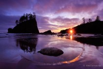 Sunset over Second Beach at Olympic National Park