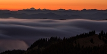 Sunset over Snoqualmie National Forest