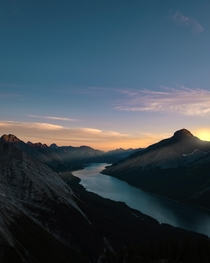 Sunset over Spray Lakes in Kananaskis Alberta