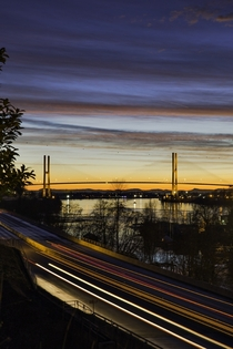 Sunset over the Alex Fraser Bridge in Delta BC  OC