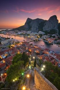 Sunset over the Croatian seaside town of Omi