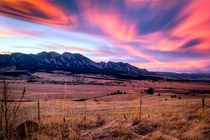 Sunset over the Flatirons Boulder CO
