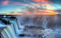 Sunset over the Igazu Falls in Brazil -