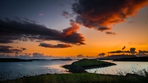 Sunset over the islands of Clew Bay Ireland
