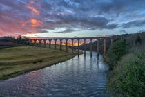 Sunset over the Leaderfoot Viaduct near Melrose in the Scottish Borders