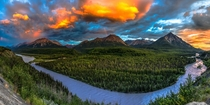 Sunset over the Matanuska Valley and King Mountain Along the Alaska-Canada Highway