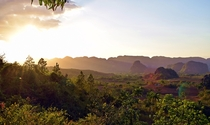 Sunset over the mist Vinales Valley Cuba
