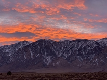 Sunset over the mountains just north of Bishop CA