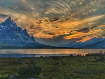 Sunset over the Ramparts Tonquin Valley Jasper Alberta Canada Spent  days on the trails visiting  beautiful campgrounds exploring valleys amp lakes and seeing the milky way with the sounds of rocks falling from the towering ramparts constantly echoing in