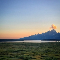 Sunset over the Tetons and Jackson Lake Grand Teton National Park