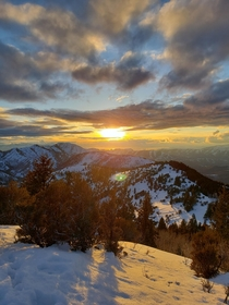 Sunset over the Wasatch Mountains Ut