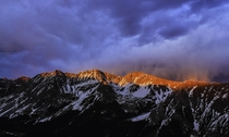Sunset over the White Rock Massif Elk Mountains Colorado