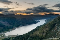 Sunset over Thirlmere on the descent from Helvellyn The Lake District