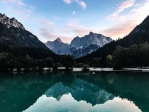 Sunset over Triglav national park Slovenia