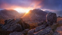 Sunset over Tryfan in the Ogwen Valley Wales  by Alex Nail