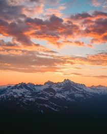 Sunset overlooking the Tantalus Range BC Canada