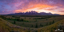 Sunset Panorama in Grand Teton National Park Wyoming