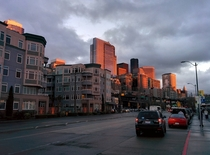 Sunset projected on downtown Seattle taken from the waterfront