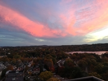Sunset sky over Boston in the fall