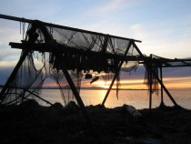Sunset through abandoned fishing net Iceland  x