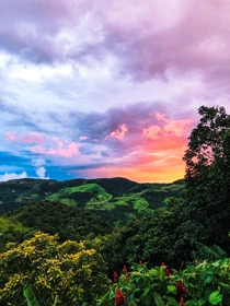 Sunset view from the coffee farm we stayed at in Monteverde Costa Rica