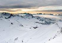 Sunset views from the top of the Swiss Alps