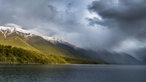 Sunshine amp Rain over Lake Rotoiti Nelson Lakes NP New Zealand