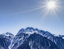 Sunshine on a snow clad Himalayan table top clicked in Sikkim India
