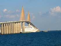 Sunshine Skyway Tampa FL with bonus ship