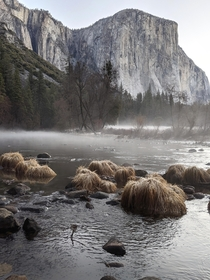 Super moody scenes of El Capitan with the morning mist at Yosemite Valley California